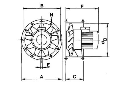 Cylindrical cased axial flow fans, type TBT/2-400 Drawing 2D