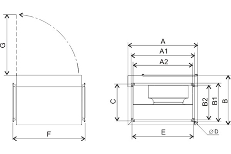 Insulated in-line rectangular duct fans IRAB/4-315A Drawing 2D