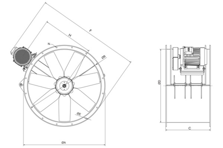Cylindrical cased axial flow fans, type TTT/4-450-L Drawing 2D