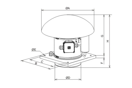 Roof mounted fans, type TH-1100/250 ATEX EEXEIIT3 Drawing 2D