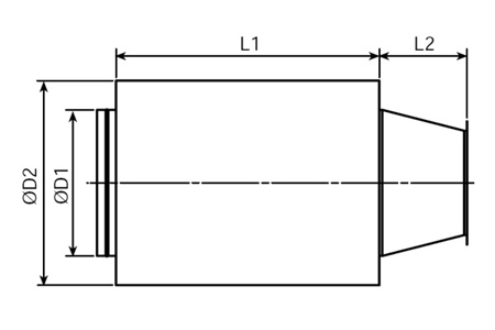 Accessory - Sound attenuator, type KMTA-225 Drawing 2D