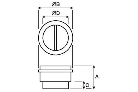 Accessory - Back draft shutter, type MCA-250 Drawing 2D