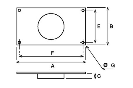 Accessory - Rectangular duct adapter, type MAR-250 Drawing 2D