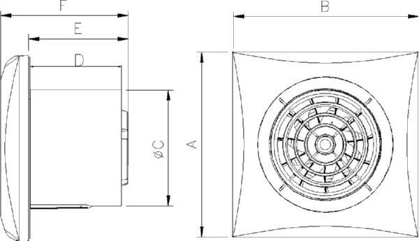 SILENT100-127V Technical drawing 2D