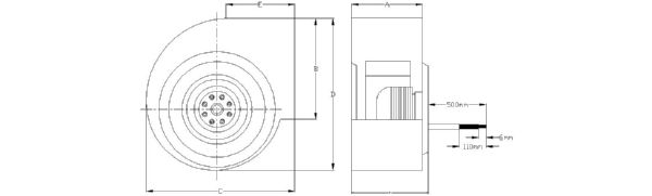 BS-500-127V Technical drawing 2D