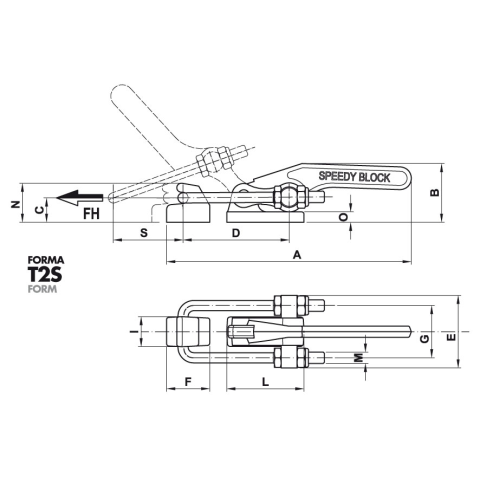 1400/T2SX Dimensioned drawing 2D