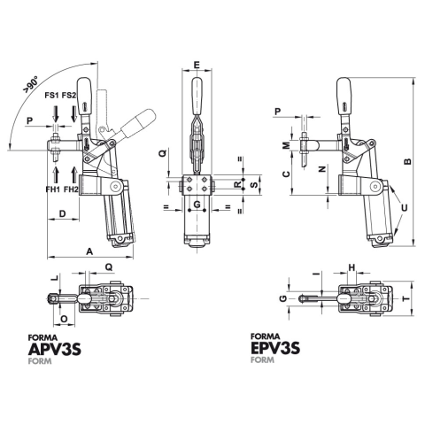 200/APV3S Dimensioned drawing 2D