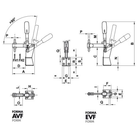 200/AVF Dimensioned drawing 2D