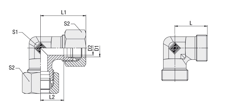 24° Equal Elbow Type FI-W Series LL / L / S Dimensional drawing 2D