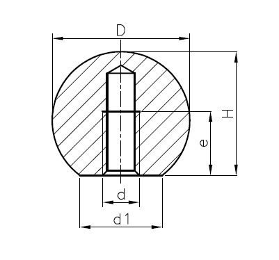Smooth ball C DIN 319, D = 12mm, Black Dimensional drawing 2D