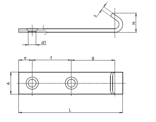 Steel extended catch plate for adjustable toggle latch, H= 16.5mm, A= 18mm, L= 85mm Dimensional drawing 2D