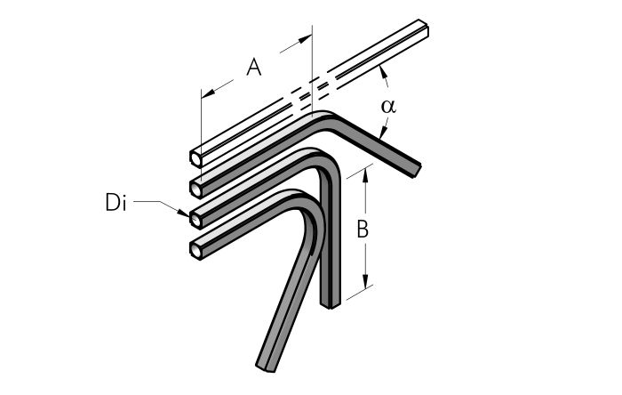 SPECIAL ANGLE CURVED PIPE Dimensioned drawing 2D