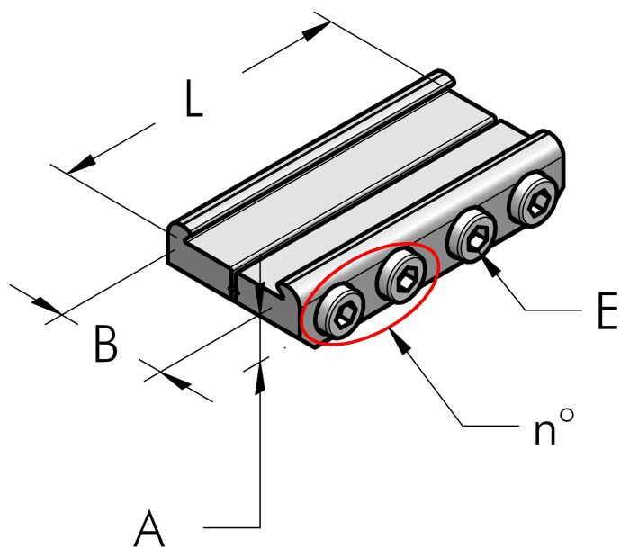 CONNECTION CLAMP, COMPLETE Dimensioned drawing 2D
