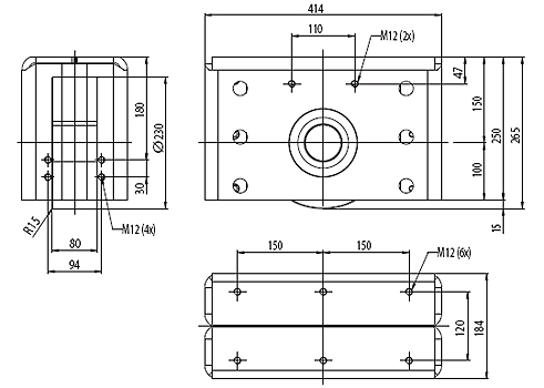 Type RNL-40-230 floating version, Vulkollanwheel Dimensional drawing 2D