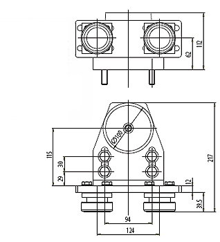 Axial-Roller guides RA-40 Dimensional drawing 2D