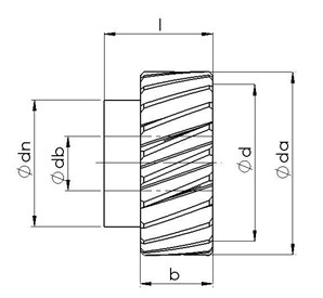 Spur Gears, Helical with Milled Teeth, modul 6 Dimensional drawing 2D