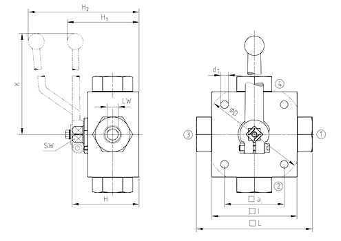 Multi-way ball valve, 4KH (Stainless Steel) Dimensional drawing 2D