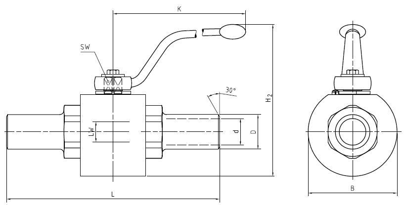 Ball valve with welding ends, MKH-AS (Stainless Steel) Dimensional drawing 2D