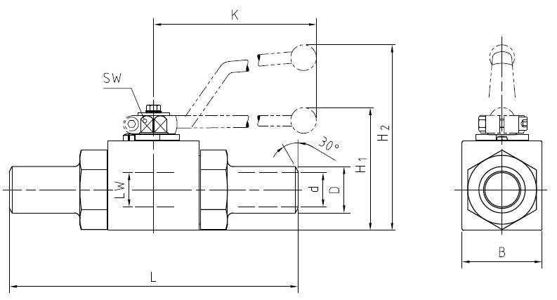 Ball valve with welding ends, BKH-AS Dimensional drawing 2D